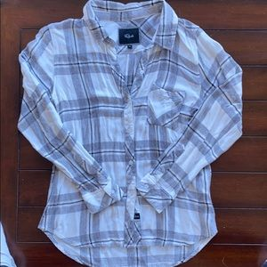Rails White and Gray Flannel - Size Small
